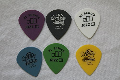 Jim Dunlop 498 Tortex Jazz III XL Plectrums Choose Your Gauge Assorted 1 of each