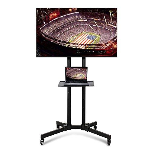 Yaheetech Carrello Supporto Staffa Porta TV con Ruote a Terra con Ripiano per Monitor Tv LCD LED Plasma da 32'' a 65'', VESA da 200x200 mm a 600x400 mm, Altezza e Angolo Regolabile