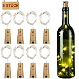 Flaschenlicht 8er 15 LED mit Kupferdraht in Korkenform, LED Lichterkette Glaslicht, romantische Beleuchtung/Geschenkidee/Deko für Weinflasche DIY Party Hochzeit (warmweiß)
