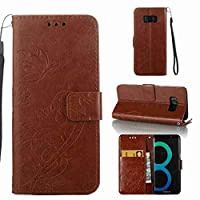 For Samsung Galaxy S8 Case [with Free Screen Protector], Qimmortal(TM) PU Leather Wallet Purse Credit Card Holders Magnetic Flip Folio TPU Soft Bumper Ultra Slim Fit Cover For Samsung Galaxy S8(#1Coffee)
