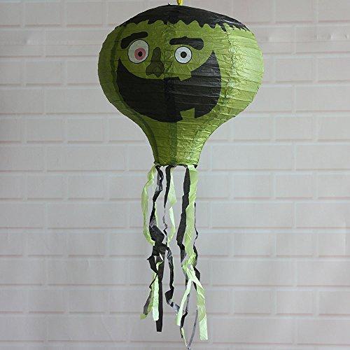 Spielzeug -Artistic9 Halloween Laternen Dekoration Faltbare Papier Heißluftballon Laternen Ghoul Ghost Scary Sensenmann Schädel Gemustert Spukhaus Hof Themenbar Spooky Devil Ornament Dekor (Green Lantern Baby Kostüm)