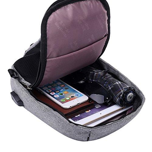 Super moderno unisex porta caricatore USB in nylon borsa a tracolla antifurto borsa a tracolla Smart borsa da viaggio borsa sportiva con tracolla rimovibile, Uomo, Black, S Black