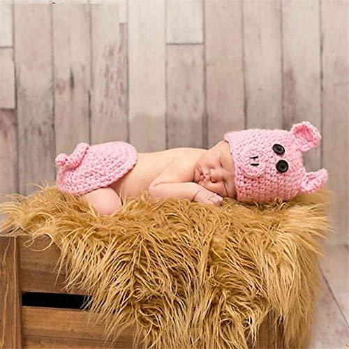 Schweinchen Kostüm Babys - mAjglgE Baby Fotografie Requisiten, für Neugeborene, Baby Cartoon Schweinchen, gestrickt, Mütze, Kostüm Fotografie Requisite