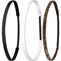 Ivybands Anti-Rutsch Haarband | 3-er Pack | Schwarz Super Thin Haarband, Weißes Super Thin Haarband, Braun Glitzer Super Thin Haarband, (1 cm Breite) IVY003 IVY507 IVY133