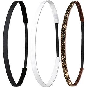 Ivybands ® | Das Anti-Rutsch Haarband | 3-er Pack | Schwarz Super Thin Haarband, Weißes Super Thin Haarband, Braun Glitzer Super Thin Haarband, (1 cm Breite) IVY003 IVY507 IVY133