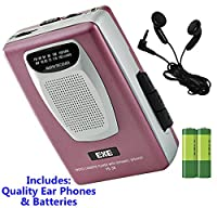 Retro Portable Personal Cassette Tape Player & Radio - inc Earphones �?? Built-In Speaker - inc Batteries (Exe VS-38 Package) (Pink (Inc Batteries))