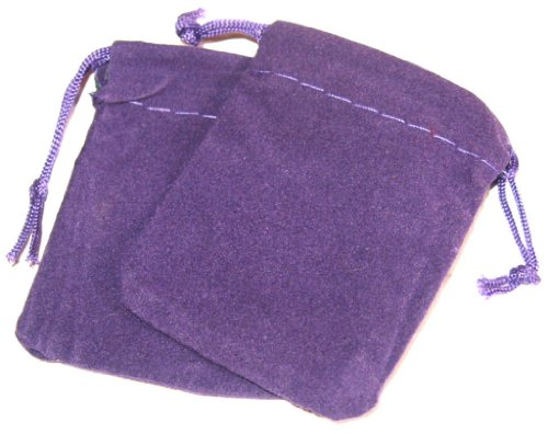 2 Medium (8.5cm) Purple Velvet Pouches