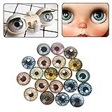 MIsha 20 Piezas Ojos de seguridad de Vaso Juguete animal de cristal ojos, Ojos de seguridad para amigurumi muñecas títere oso de peluche animal de peluche