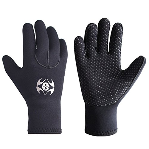 Wetsuits Five Finger Diving Gloves for Women Men, 3mm Neoprene Anti Slip Glove Winter Water Sports for Windsurfing, Surfing, Spearfishing, Snorkeling, Boating, Fishermen, Waterskiing (L)