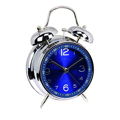 """EGOERA reg; 4"""" Metal Bell del Gemelo Vintage Reloj Despertador Analogico Silencioso/Despertador Viaje (Azul)"""