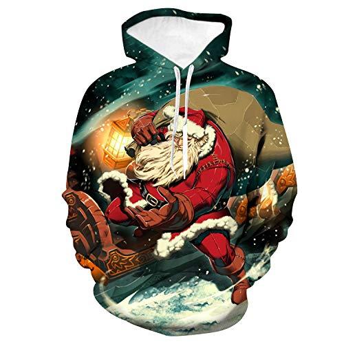jiuyaomai Sweatshirt Cartoon Santa Claus 3D gedruckt Hoodie Herren Pullover L (Herren Santa Claus Kostüm Tshirt)