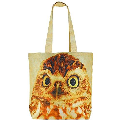 Numérique Imprimé polyvalent Fashion Bag Shopping - Colorful Owl Faux Silk sac fourre-tout avec polysatin Doublure