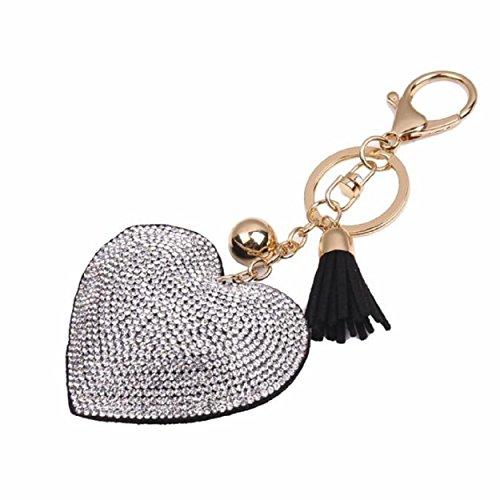 Schwarz Groß Outdoor-hängenden Anhänger (Yogogo Liebe Rhinestone Troddel Keychain Taschen Handtasche Schlüsselring Auto Schlüssel Anhänger (Schwarz))