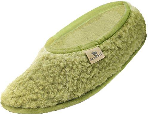 Alwero - Pantofole modello da ballerina, in lana, per donna, Ballerinas, Verde
