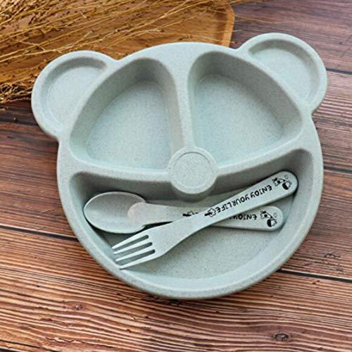 LouiseEvel215 Cubs Kinder Dinner Set Weizen Stroh Kreatives Geschirr Baby Teller Frühstück Tablett Zusatz Gabel und Löffel Portion Utensil Set