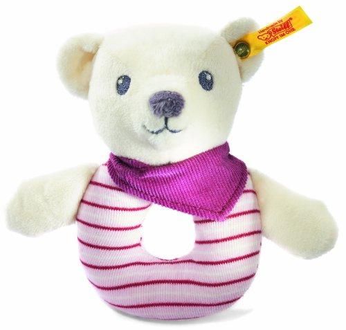 Steiff 238918 - Knuffi Bärchen Greifring mit Rassel, 12 cm, weiß/rosa