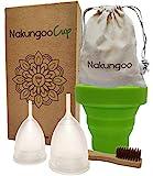 NakungooCup Coppetta Mestruale Certificata Morbida Kit 2 Pezzi S L Lavabili Sterilizzatore Silicone Biologica Anallergica 12 Ore 30ml Ideale Per Principiante