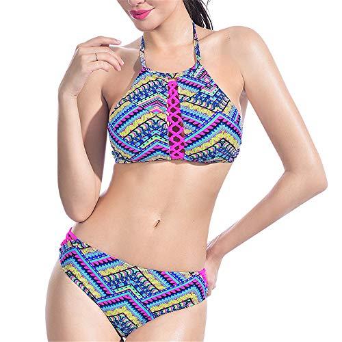 Pensi di Me Crochet Ethnic Bikini Set Women Retro Crop Halter Costume da Bagno Swimwear Lavorato a Maglia Vita Bassa Beachwear Triangolo Two Piece Bathing Suit, Multi, XL