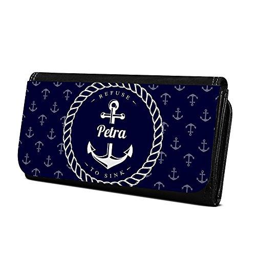 Geldbörse mit Namen Petra - Design Anker - Brieftasche, Geldbeutel, Portemonnaie, personalisiert für Damen und Herren