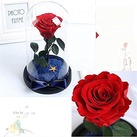 HOOM-Ornements de verre rose fleur éternelle amie masque Saint-valentin