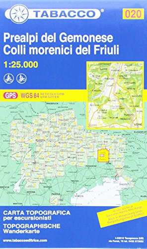 Prealpi Carniche e Giulie del Gemonese: Wanderkarte Tabacco 020. 1:25000 (Cartes Topograh)