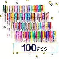 TOPERSUN Bolígrafos 100 Colores Bolígrafos de Gel Incluye Purpurina Metálico Neón y Clásicos para Pintar Dibujar