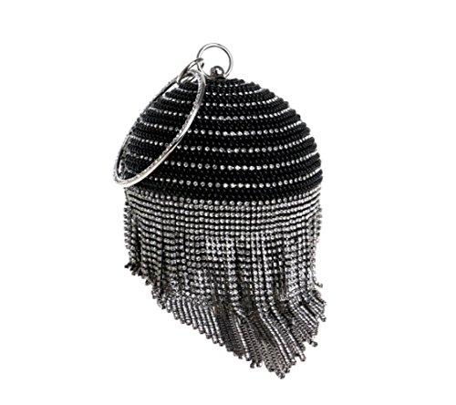 Fringe Evening Bag Ladies Fashion Banquet Handbag Rhinestone Evening Bag Wild Clutch - clutches