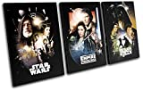 Bold Bloc Design - Star Wars Vintage Movie Greats 180x90cm TREBLE Leinwand Kunstdruck Box gerahmte Bild Wand hangen - handgefertigt In Grossbritannien - gerahmt und bereit zum Aufhangen - Canvas Art Print