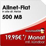 DeutschlandSIM Flat S [SIM und Micro-SIM] monatlich kündbar (500MB Daten-Flat, Telefonie-Flat, 9ct pro SMS, 19,95 Euro/Monat) Vodafone-Netz preiswert