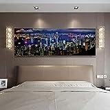 zgmtj Landschaft Poster und Drucke Wandkunst Leinwand Malerei Hong Kong City Night Scene Dekorative...