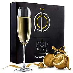 Idea Regalo - RÖD WINE Calici Champagne - Bicchieri Spumante in Cristallo Infrangibili Senza Piombo - Flute Prosecco - Ideali per Degustazione Vino, Compleanno, Anniversario o Matrimonio - Set da 3, 220 mL