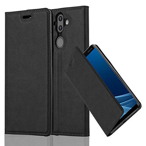 Cadorabo Hülle für Nokia 8 Sirocco/Nokia 9 2017 - Hülle in Nacht SCHWARZ – Handyhülle mit Magnetverschluss, Standfunktion und Kartenfach - Case Cover Schutzhülle Etui Tasche Book Klapp Style