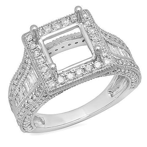 1.85 Carat (Ctw) 18 ct White Gold Round Diamond Semi