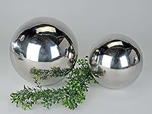 Lot de 4 boules décoratives en acier inoxydable argentéø 10 cm