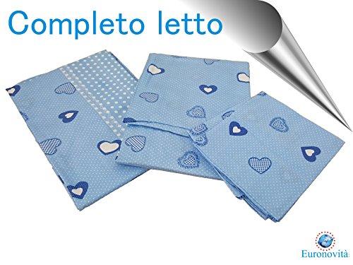 Completo biancheria da letto, Lenzuola in Cotone stampato per Letto matrimoniale, Celeste con cuori 250x280 cm +2 federa 52x82 +2 federa cuscino