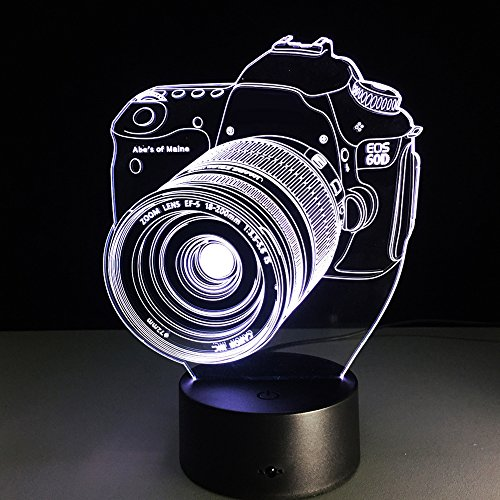 Eastlion Vision of 3D Led Nachtlicht kreative Geschenk USB Schreibtischlampe Neuheit Spielwaren Touch oder Remote (Kamera)