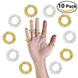 Massage Ring ,10pezzi anelli medicina cinese digitopressione Finger Massage Ring (5Argento + 5Golden)