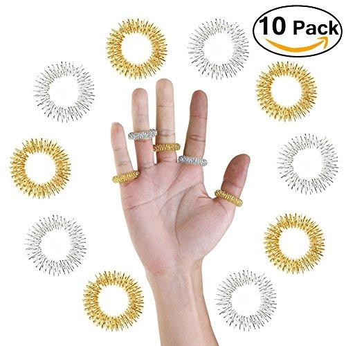 Massage Ring,10 Stücke Akupressur Ringe Chinesische Medizin Finger Massage Ring(5 Silber + 5 Golden)