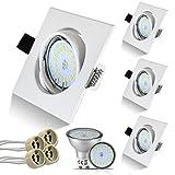 HiBay Eckig Einbaustrahler Set 4 x Einbauspot GU10 LED 5W 18PCS High Power LEDs SMD Weiß Einbauleuchten Schwenkbar Einbaurahmen Naturalweiß Strahler,2 Jahre Garantie