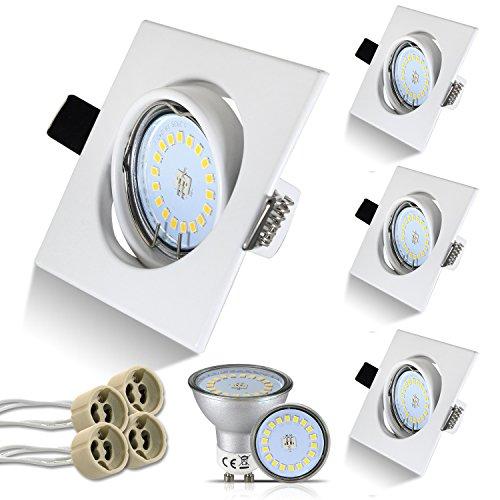 HiBay® Eckig LED Set 4 Stück Einbaustrahler 5W 18PCS High Power LEDs Warmweiß GU10 SMD + Weiß Schwenkbar Einbaurahmen +GU10 Fassung,2 Jahre Garantie
