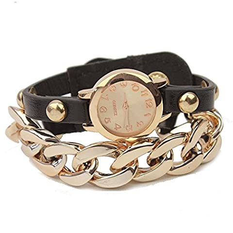 Winomo Mode femmes femmes métal PU Bangle Bracelet montre-bracelet - 1 pièce