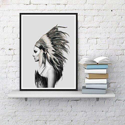 ZY Kein Rahmen Leinwand Gemälde Native American Indian Girl gefiederten Poster an der Wand Bild moderne Home Wand Kunst Dekor Drucken, 30 * 40 * 1. (Kunst Gemälde Native)