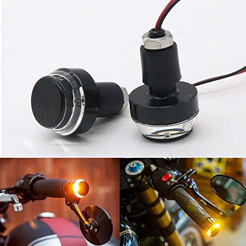 TRP TRADERS 2 in1 Universal Motorcycle Handlebar White + Turn Signal Grip Bar End LED Light