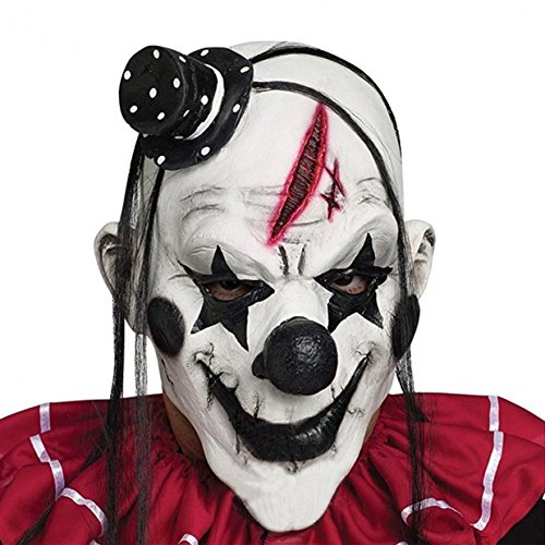 WODISON Latex Halloween Gruselige Maske Furchtsame Clown Fancy Dress Cosplay Kostüm Party Maske (Weiß) (Böse Clown Dekoration)