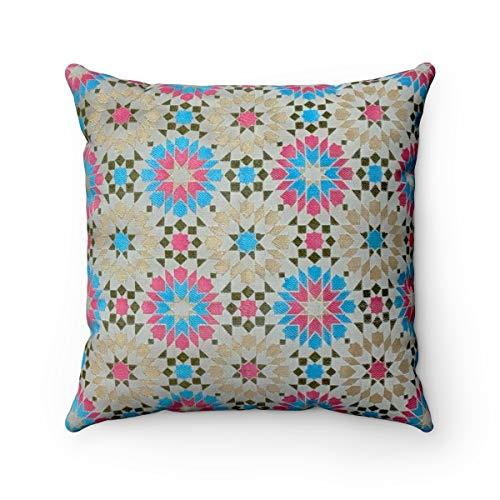 Marokkanischer Designer Jacquard Gemustert strukturierte Chenille geometrische Mosaikfliesen Muster Scatter Kissenbezug - 45,7 x 45,7 cm, Turquoise Green & Pink, 45 x 45 cm -