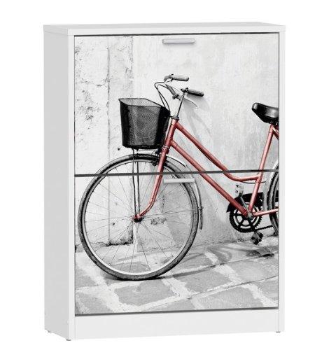 Suarez H329 - Zapatero, 2 niveles, diseño bicicleta roja, 820 x 600 x 242 mm, color blanco
