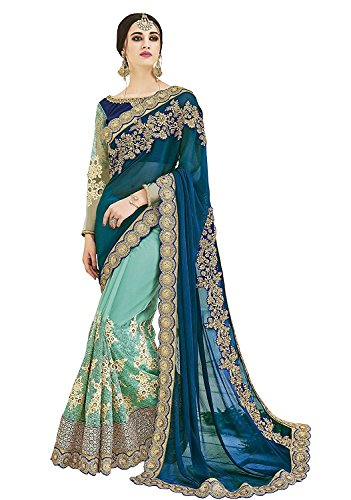 SareeShop Embroidered Multi-Coloured Half And Half Georgette Saree With Blouse Material For Partywear,Wedding,Casual sarees