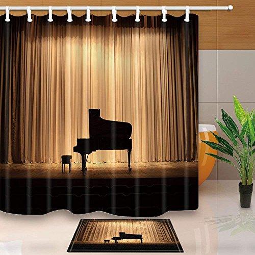Adacrazy pianoforte a coda con palco marrone 71x71in muffa resistente in poliestere con tenda da doccia in tessuto con tappeti da bagno antiscivolo da pavimento in flanella 15.7x23.6in