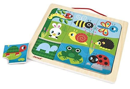Janod J08182 - Magnetpuzzle aus Holz 9 Teile, Happy Garden