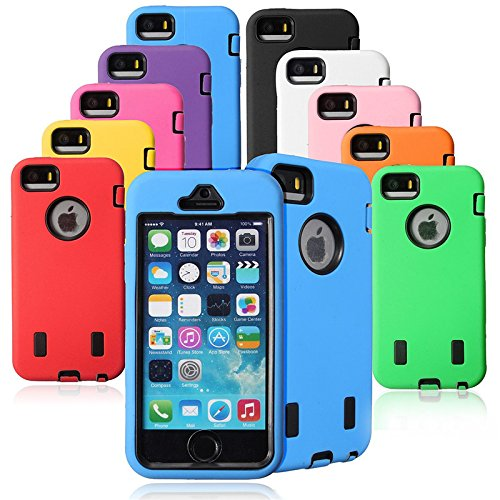 3 en 1 Duty Shock antipoussire Hard Case Armure lourde Workman TPU couverture pare-chocs pour Apple iPhone 5 rouge